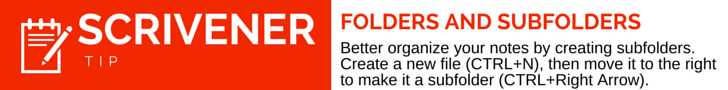 Scrivener Tip Folders and Subfolders