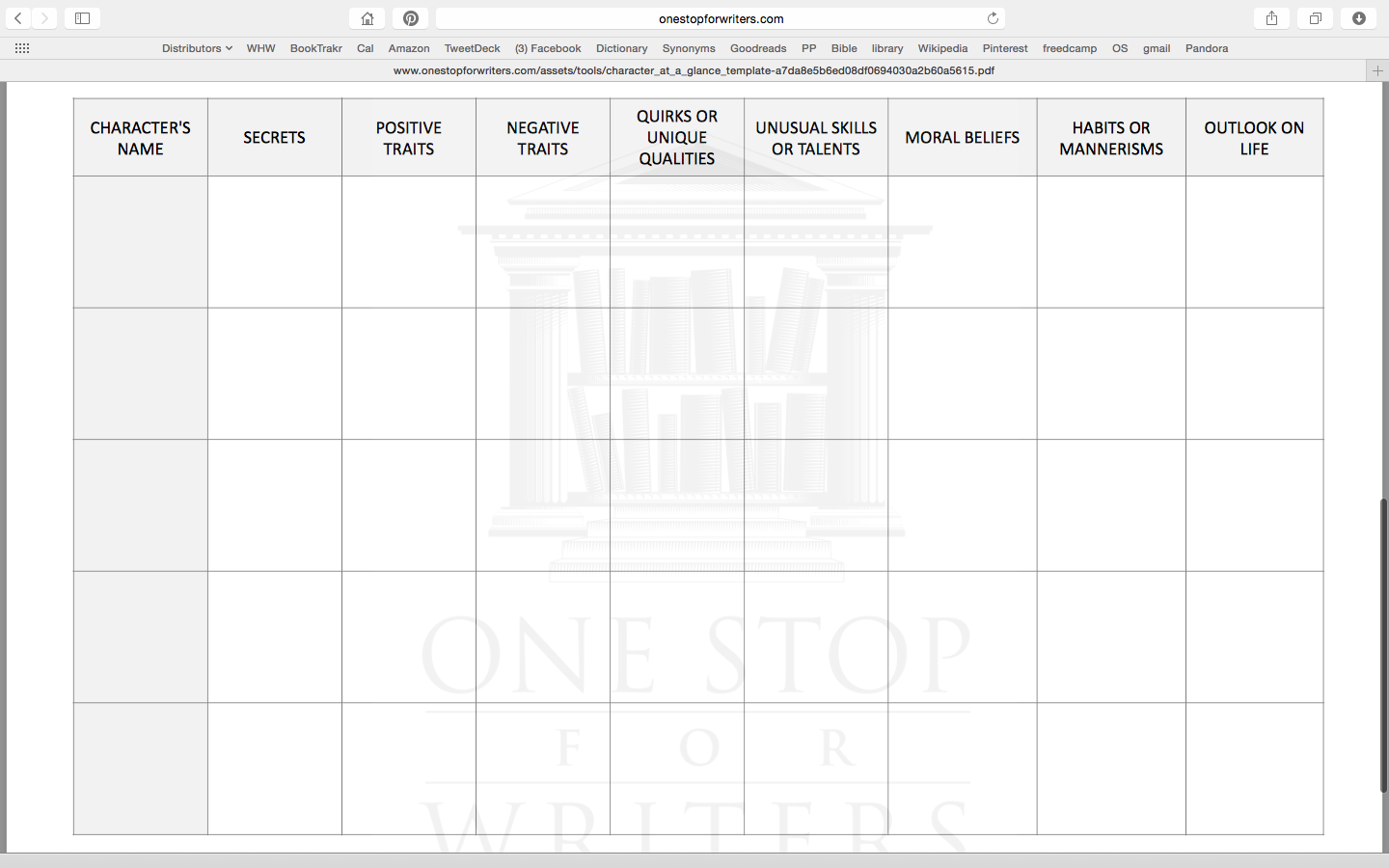 Character At-A-Glance Tool One Stop for Writers