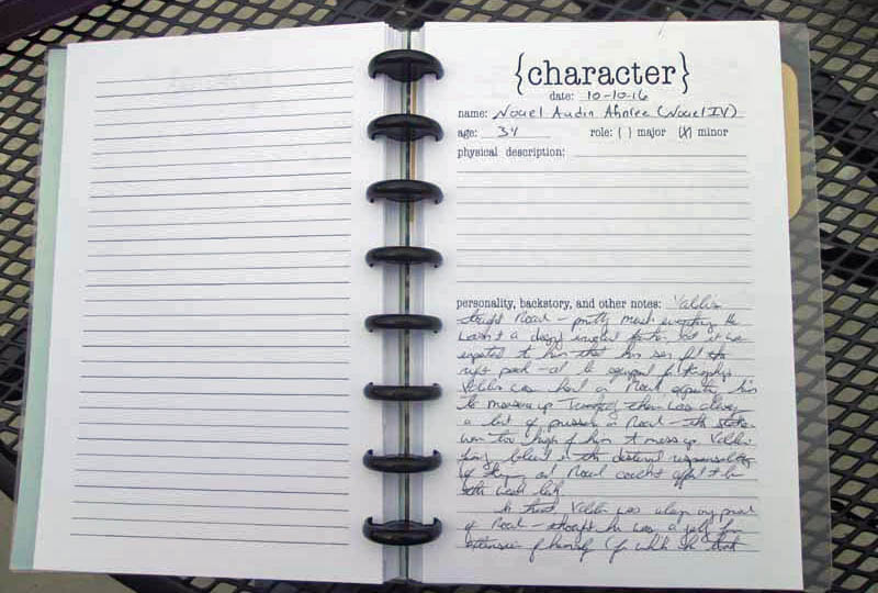 WriteMind Planner Writing Journal Character Idea Page