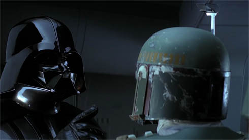 Boba Fett and Darth Vader in Empire Strikes Back No Disintegrations