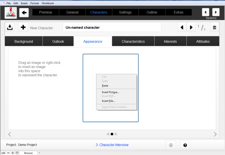 Adding Character Image to Outlining Your Novel Workbook