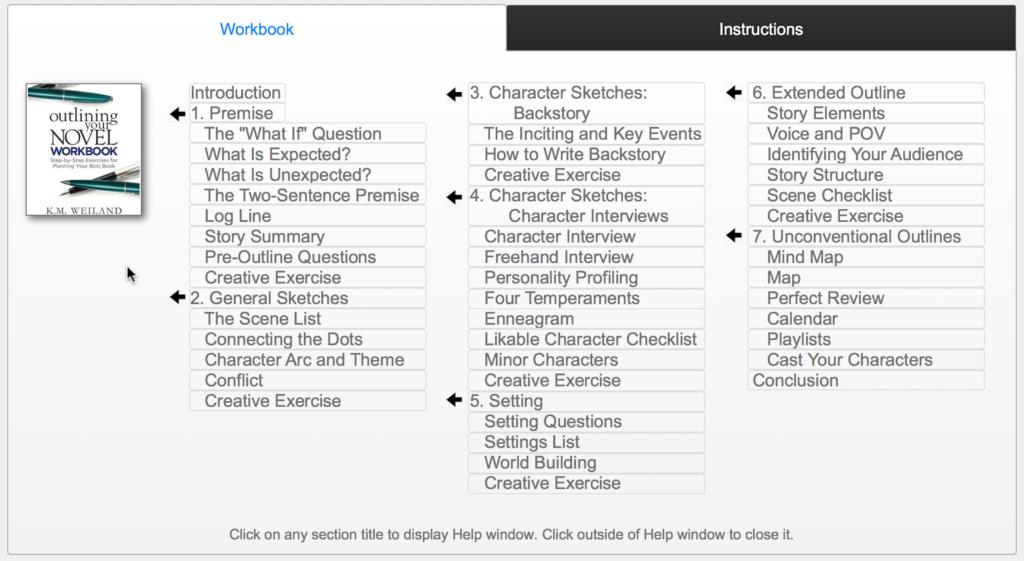 Outlining Your Novel Workbook Computer Program Help Screen
