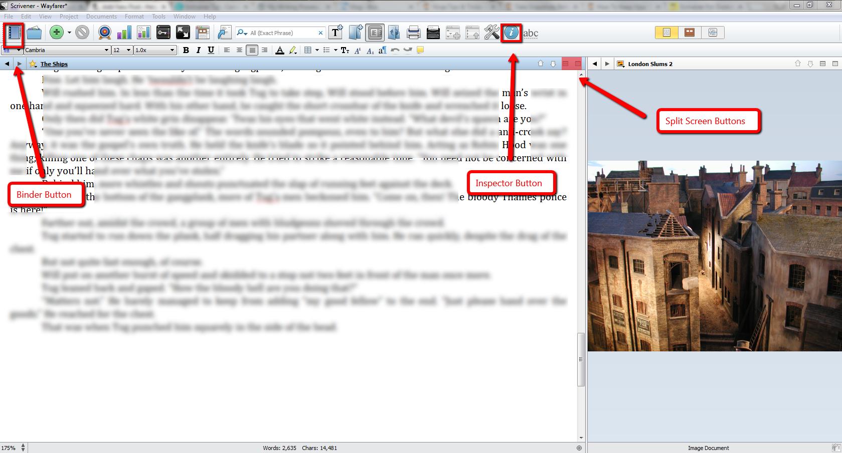 Writing_Process_Scrivener_Split_Screen