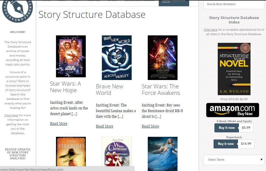 Story Structure Database Screenshot