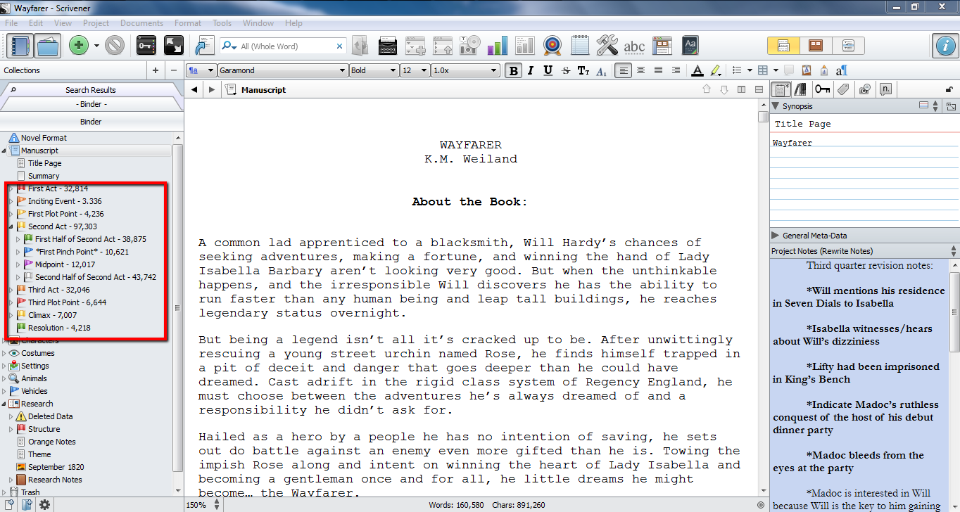 Story Structure Sections in Scrivener's Binder
