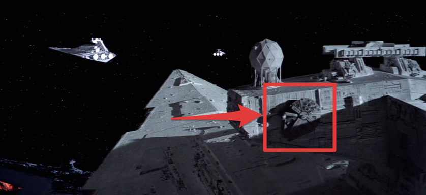 Representative Actions Star Wars Empire Strikes Back Millennium Falcon on Star Destroyer