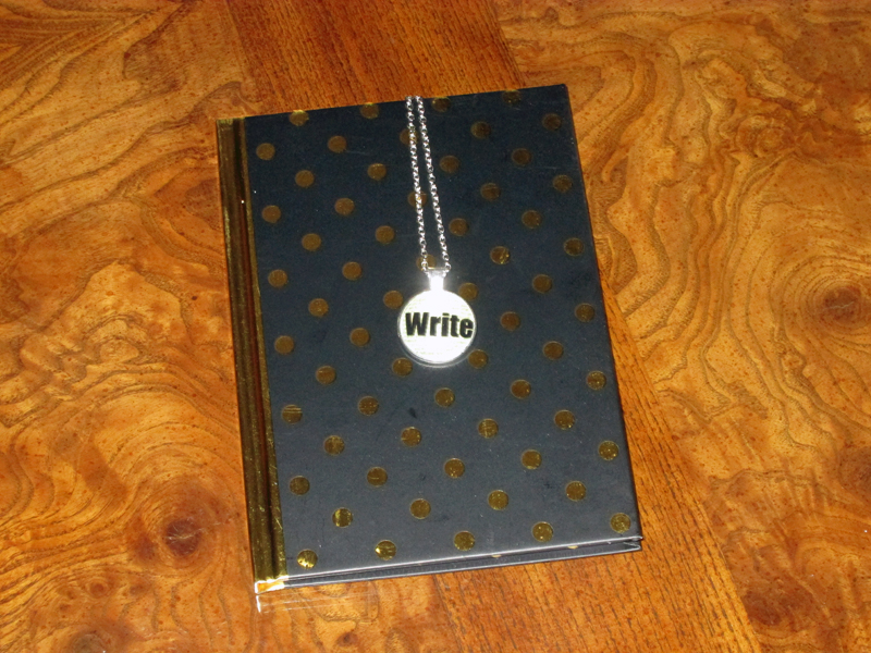Meraki Literary Subscription Box Necklace and Notebook