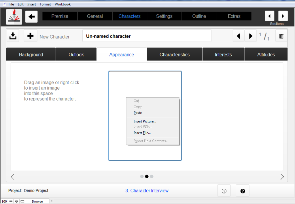 Adding a Character Image - Outlining Your Novel Workbook Software
