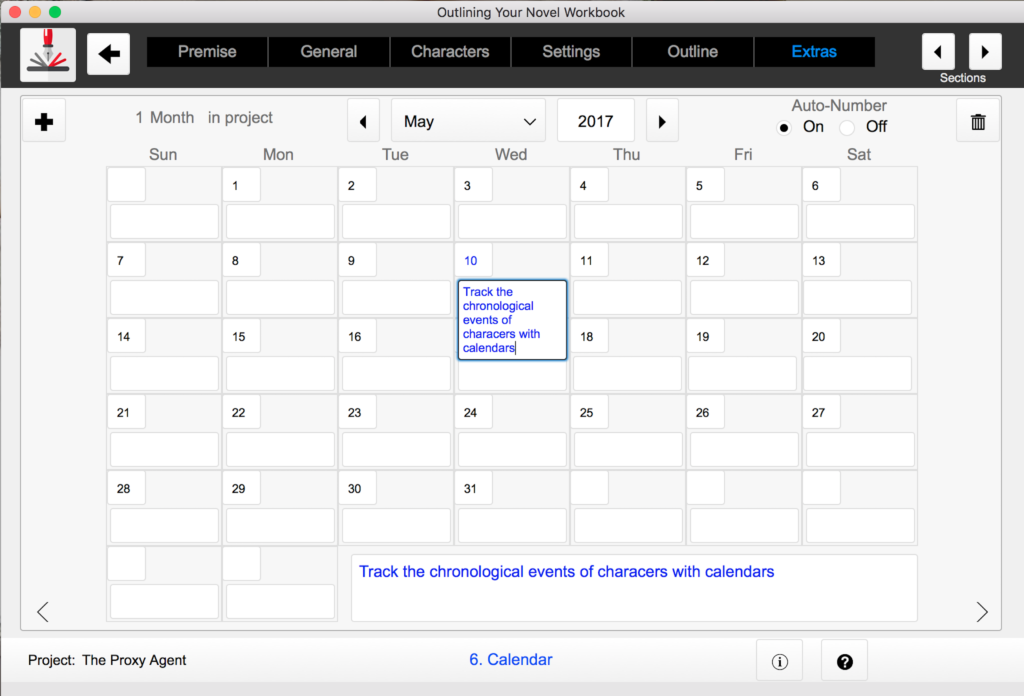 Calendar Outlining Your Novel Workbook software