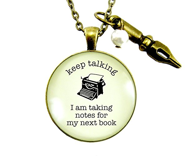 11 Keep Talking Taking Notes for Next Book Pendant Necklace