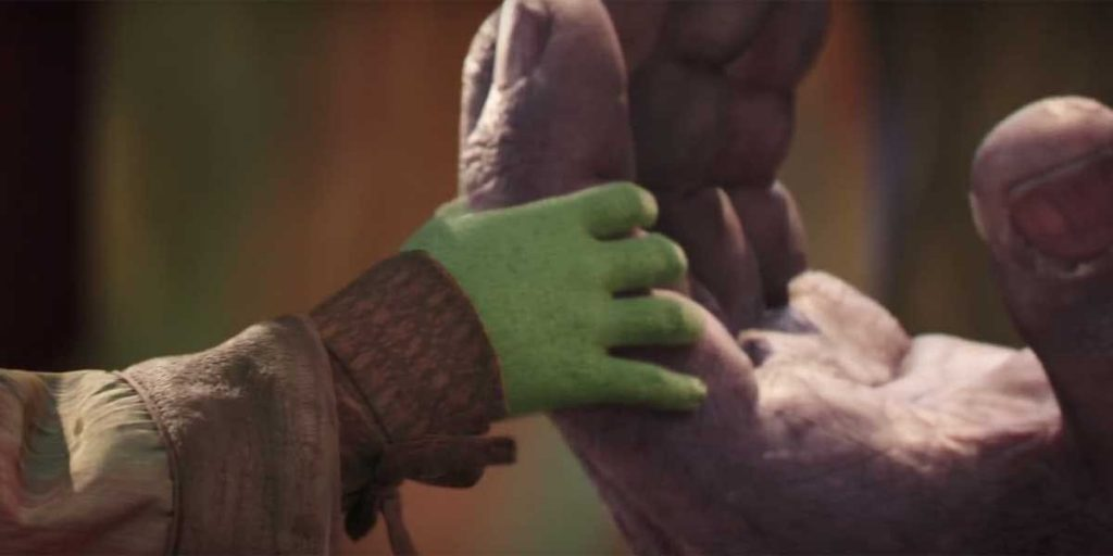 Thanos and Gamora hands Infinity War